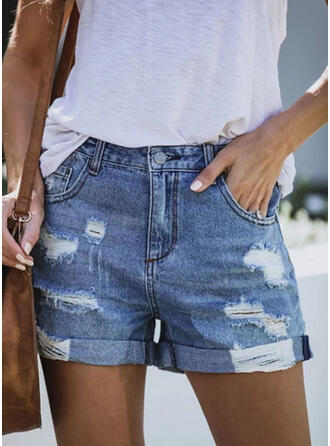 Plus Size Ripped Sexy Vintage Shorts Denim & Jeans