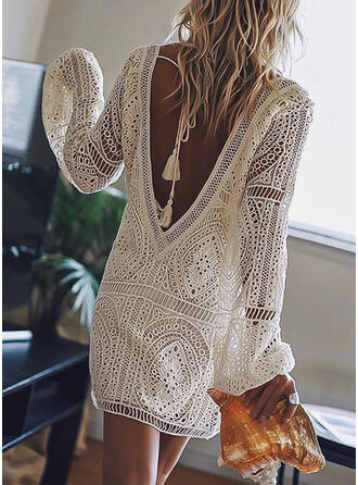 Lace/Solid/Backless Long Sleeves Shift Knee Length Little Black/Sexy/Vacation Dresses