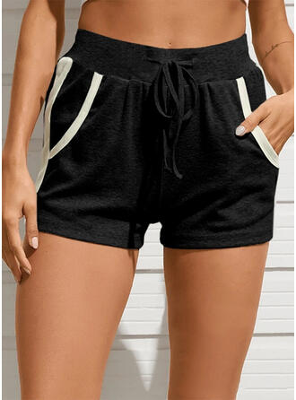 Solid Patchwork Casual Solid Shorts