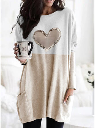 Print Color Block Heart Round Neck Long Sleeves Dropped Shoulder Casual Blouses